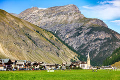 Village of Livigno in Valley Below Italian Alps Stock Photos