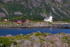 Village on Lofoten. Picturesque village of Vestpollen on Lofoten islands in Norway Royalty Free Stock Image