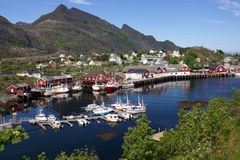 Village on Lofoten islands. Fisherman's cabins and harbour at Lofoten islands, Norway Stock Photography