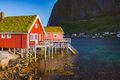 Village on Lofoten islands in Norway, Europe Royalty Free Stock Photos