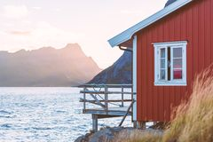 Village on Lofoten islands in Norway, Europe Stock Photo