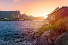 Village on Lofoten islands in Norway, Europe Royalty Free Stock Image