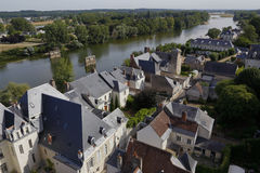 Village and Loire River, Louire Valley  -  Europe, France,  shot from Amboise, Amboise Castle, Chateau d' Amboise, Castle  shot Au Royalty Free Stock Image