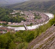 Village in the loop of a river. Top view of a French village in the loop of a river Royalty Free Stock Photos