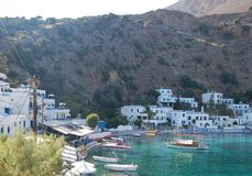 The village Loutro in Crete. This village you can visit just by boat or by feet Stock Photography