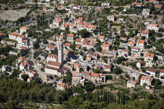 Village Lozisca on island Brac in Croatia, aerial view Royalty Free Stock Photography