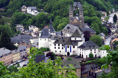 Village in Luxembourg. View to the castle and village of Clervaux in Luxembourg on a rainy day Royalty Free Stock Images