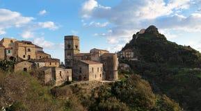 Village médiéval de Savoca en Sicile au coucher du soleil Photo libre de droits