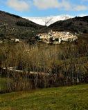Village, médiéval, neige, ailano, Italie photo libre de droits