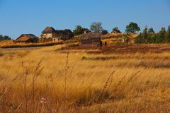 Village in Madagascar. Village in central Madagascar Island Stock Image