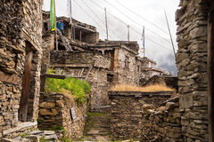 Village made of stones on the mountains. Small village named Ghyaru in the mountains, at Annapurnas range Stock Photo