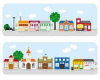 Village Main Street Neighborhood Vector Illustrati. Vector Illustration of small town main street with shops, church and public buildings. All objects are Royalty Free Stock Photography