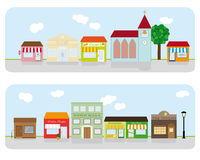 Village Main Street Neighborhood Vector Illustration. Vector Illustration of small town main street with shops, church, bar and public buildings. All objects are Stock Image