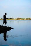 Village Man Fishing. Royalty Free Stock Photos