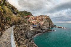 Village of Manarola, on the Cinque Terre coast of Italy Royalty Free Stock Images