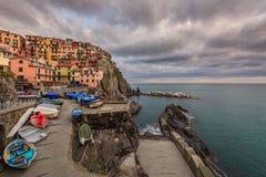 Village of Manarola, on the Cinque Terre coast of Italy Stock Photography