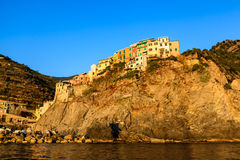 Village of Manarola on the Steep Cliff Stock Photos
