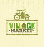 Village Market Rough Stamp Vector Concept. Local Food Sign Illustration On Craft Paper Background. Royalty Free Stock Images