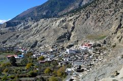 The village of Marpha on a hillside. on the Annapurna Circuit, Nepal.  stock photos