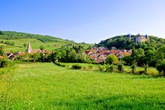 Village and medieval castle of Rochepot, Burgundy, France. View over the beautiful village and medieval castle of Rochepot, Burgundy, France Royalty Free Stock Image