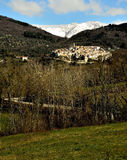 Village,medieval,snow,ailano,italy. Town of Ailano in the province of caserta. On the background massif matese snowy. The city is famous for its sulfur springs Royalty Free Stock Photo