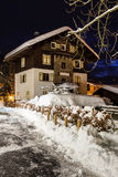 Village of Megeve on Christmas. Illuminated in the Night, French Alps, France Royalty Free Stock Images