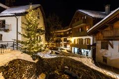 Village of Megeve on Christmas Eve Stock Photos