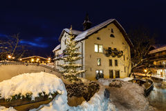 Village of Megeve on Christmas Illuminated in the Night Stock Image