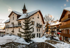 Village of Megeve in the Evening, French Alps Royalty Free Stock Photography