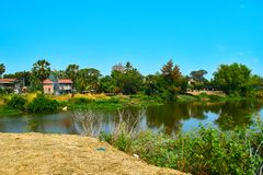 Village at Mekong River in Kratie, Cambodia royalty free stock images