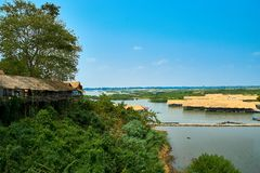 Village at Mekong River in Kratie, Cambodia stock image