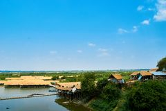 Village at Mekong River in Kratie, Cambodia stock photo