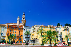 Village of Menton. In French Riviera, along Mediterranean Sea Stock Images