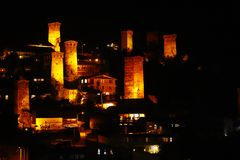 The village of Mestia at night in the Great Caucasus Mountains in Svaneti, Georgia royalty free stock photo