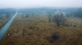 Village in the middle of misty forest. Following aerial drone footage view of a village in the misty forest stock footage