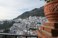 Village of Mijas Spain. Afternoon view of the white apartments built on the hillside in Mijas on the Costa del Sol in Spain Stock Image