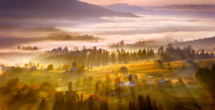 Village in the mist Stock Image