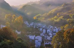 The village in the misty autumn morning stock images