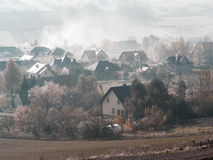 Village in the misty morning Royalty Free Stock Photography