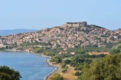 Village Molyvos,Lesbos. Molyvos historic town,island Lesbos,Greece stock photos