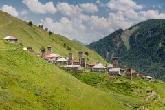 Village montagneux de région de Svaneti image stock