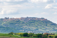Village of Montalcino on a hill Royalty Free Stock Images