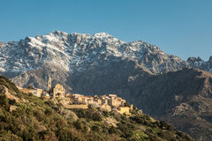 Village of Montemaggiore and Monte Grosso in Corsica Stock Images