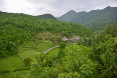 Village in Montenegro. View of the small village from the mountainside in Montenegro Stock Image