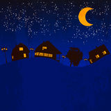 Village moon light. Night vector Vector Illustration