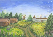 Village in the morning. Oil hand drawn picture - village and  landscape Stock Photography