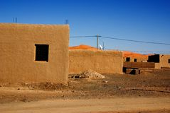 Village in Morocco. Buldings of the small village close to Sahara desert Stock Image