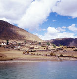 Village in the mountain. A chinese village on the mountain side, and near the river. the location is in Tibet of China Stock Photography