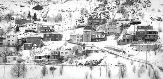 Village on Mountain Covered With Snows Royalty Free Stock Images