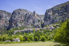 The village in the mountain. Moustier-Ste-Marie one of the most beautiful villages in France Stock Images